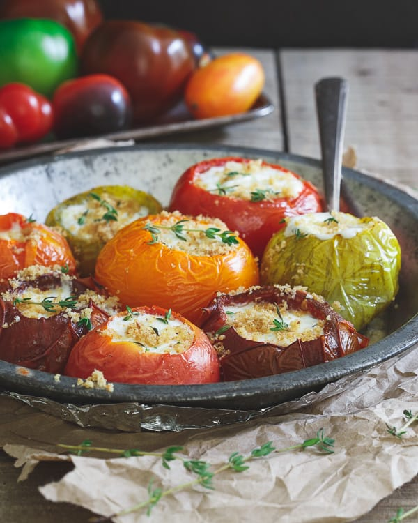 Roasted Stuffed Heirloom Tomatoes - Running to the Kitchen