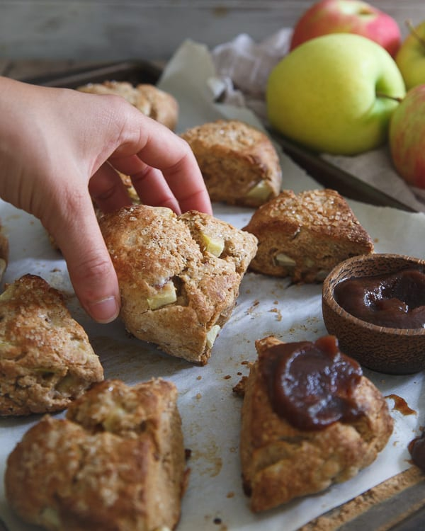 Apple butter scones with bacon