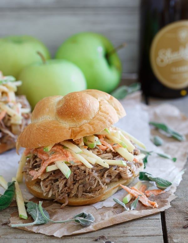 Slow Cooker BBQ Apple Pulled Pork Sandwiches