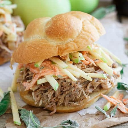 Slow Cooker BBQ Apple Pulled Pork Sandwiches with Apple Carrot Slaw