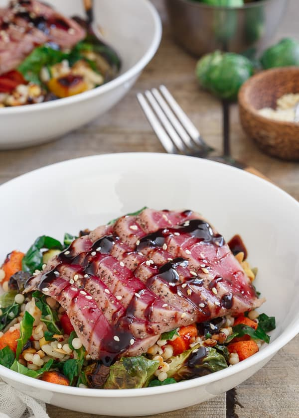 Ahi tuna with roasted winter vegetable israeli couscous for Where to buy sushi grade fish near me