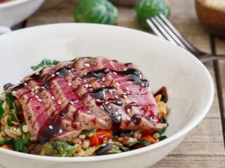 Ahi Tuna With Roasted Winter Vegetable Israeli Couscous
