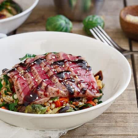 Seared Ahi Tuna with Roasted Winter Vegetable Israeli Couscous
