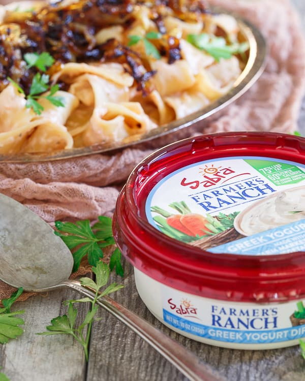 Creamy tomato yogurt ranch pappardelle with caramelized onions