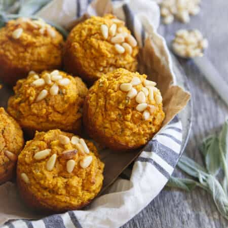 Toasted Pine Nut Herb Pumpkin Muffins