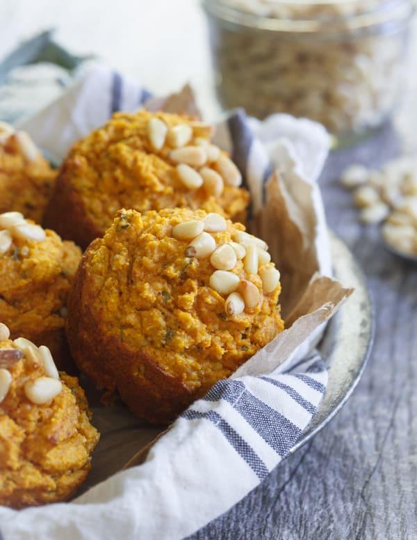Savory toasted pine nut herb pumpkin muffins