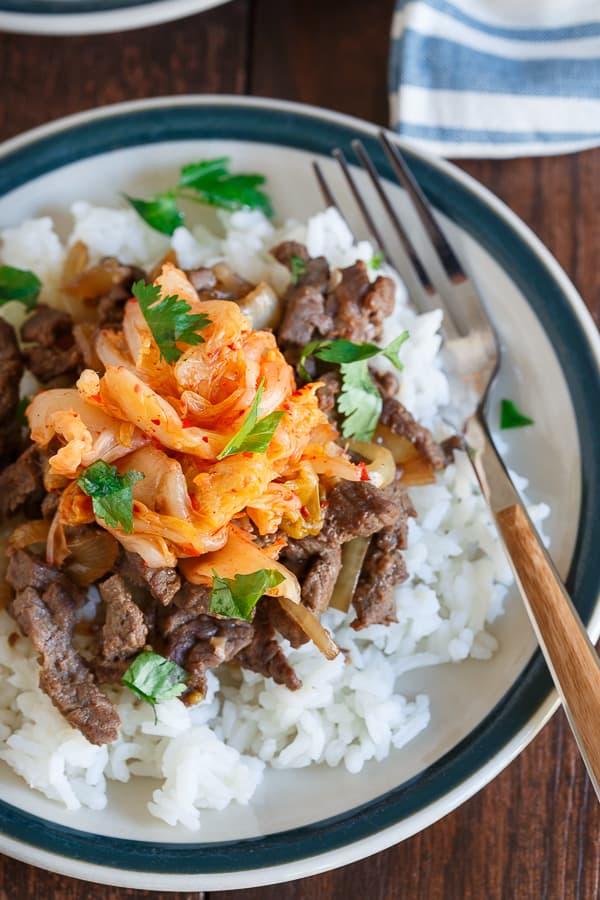 Beef bulgogi kimchi rice plate