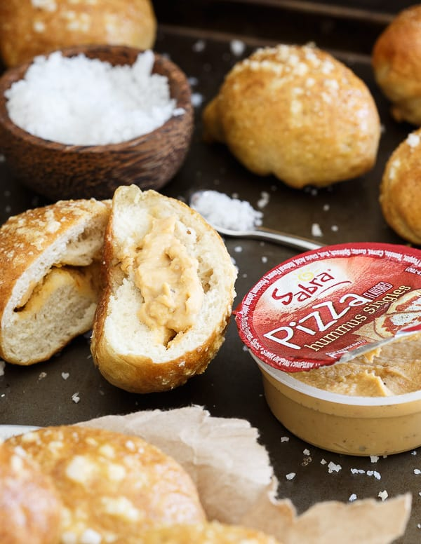 Stuffed hummus pretzel bites