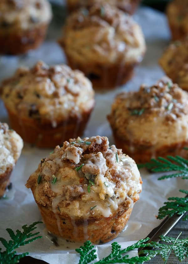 Glazed Christmas Morning Crumble Muffins
