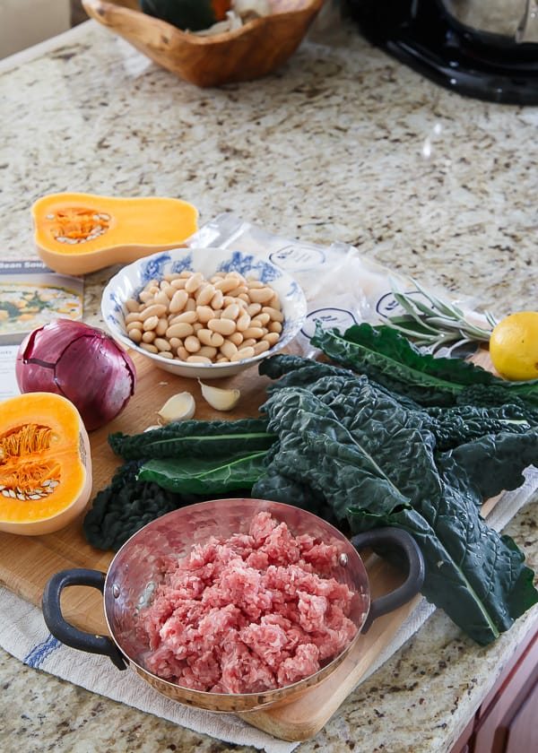 Blue Apron spiced pork squash and white bean soup ingredients