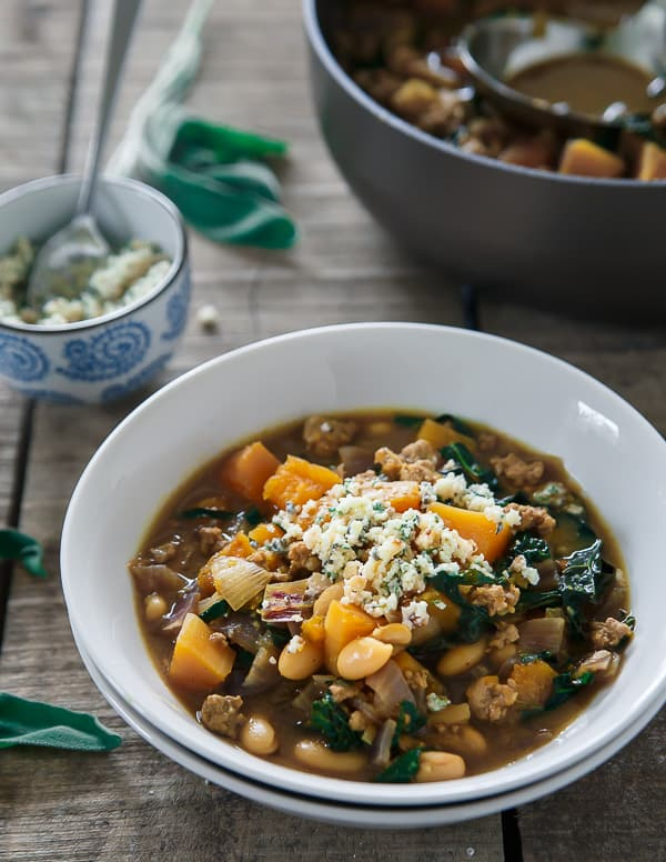 Spiced pork, squash and white bean soup with sage pesto