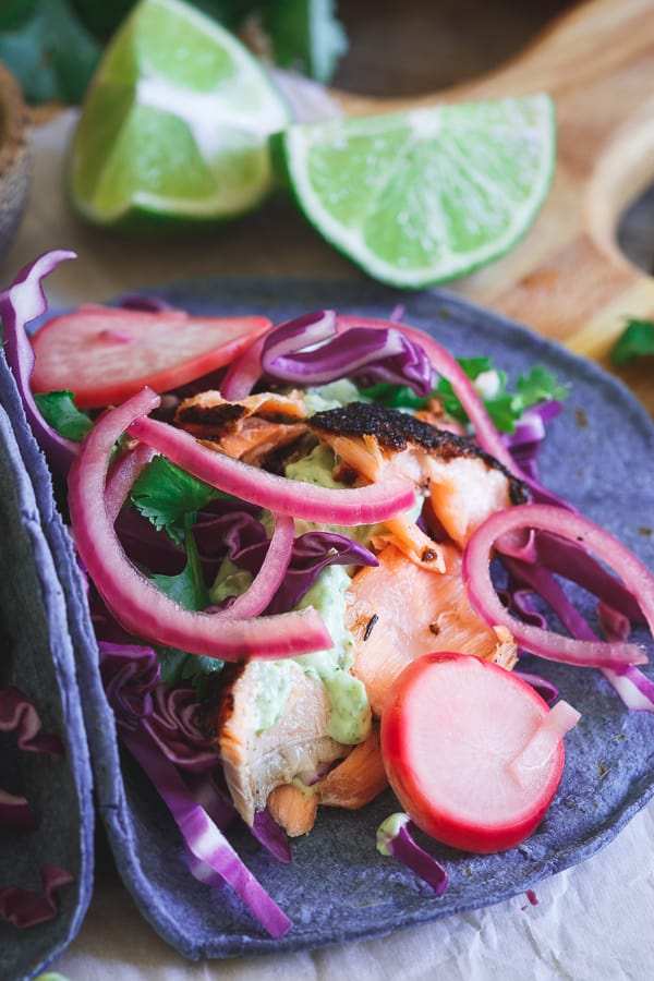 Blackened Salmon Tacos with Pickled Radishes and Red Onion