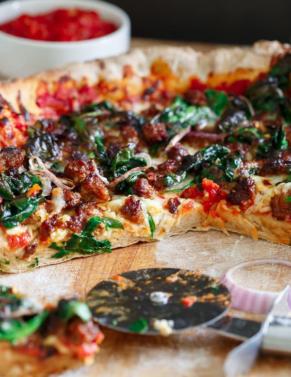 Whole Wheat Skillet Chorizo Spinach Pizza