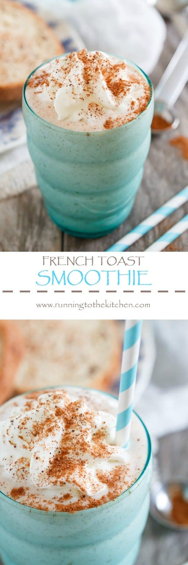 This French toast smoothie is a high protein packed drink that tastes just like the decadent buttery cinnamon breakfast you love.