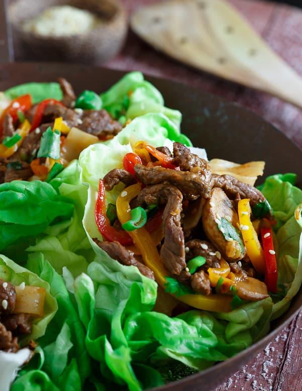 Korean Steak and Noodle Lettuce Wraps