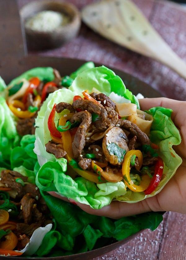 Korean Steak and Rice Noodle Lettuce Cups