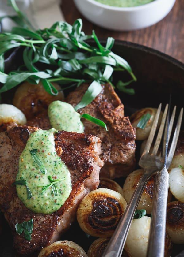 Skillet Lamb Chops and Cipollini Onions with Tarragon Honey Mustard Sauce