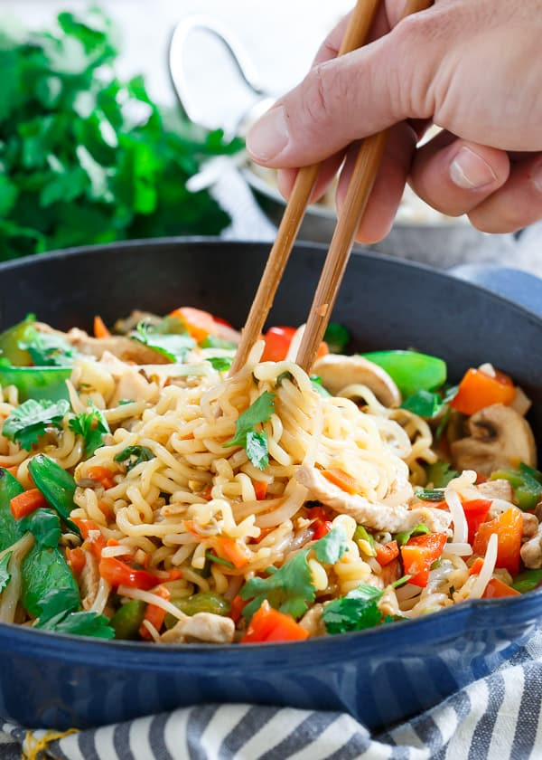 This 20 minute pork ramen stir fry is sweet, spicy and filled with vegetables for an easy, healthy dinner.