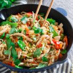 Sweet and spicy pork ramen stir fry