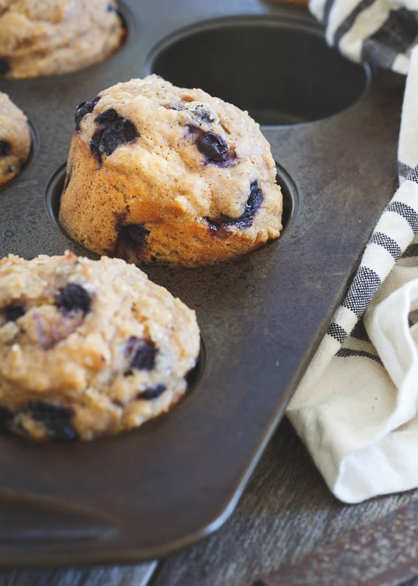 Whole Wheat Blueberry Ginger Muffins