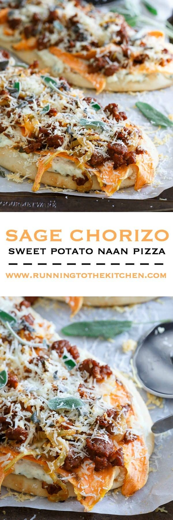 There's so much savory goodness in every bite of this sage chorizo sweet potato naan pizza. It's pizza heaven!