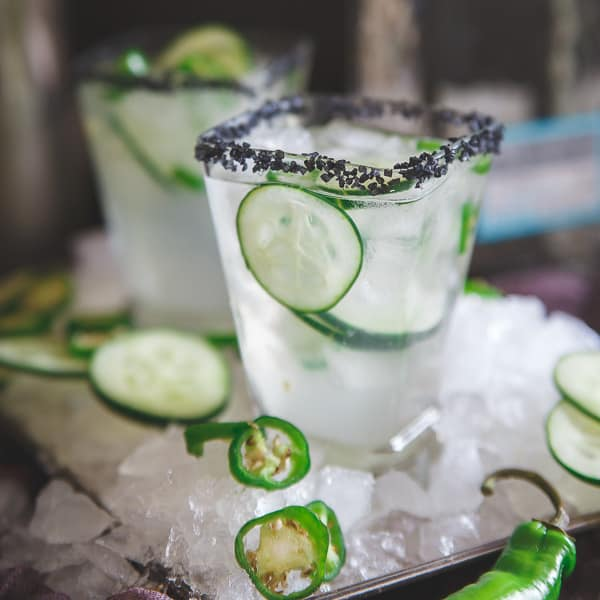 This serrano cucumber margarita is both spicy and refreshing at the same time making for one delicious happy hour!