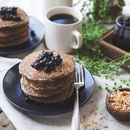 toasted coconut cinnamon raisin oat bran pancakes running to the