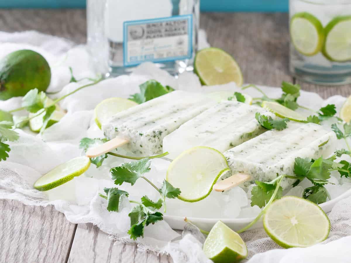 Coconut Cilantro Margarita Ice Pops are a creamy and refreshing boozy bite.