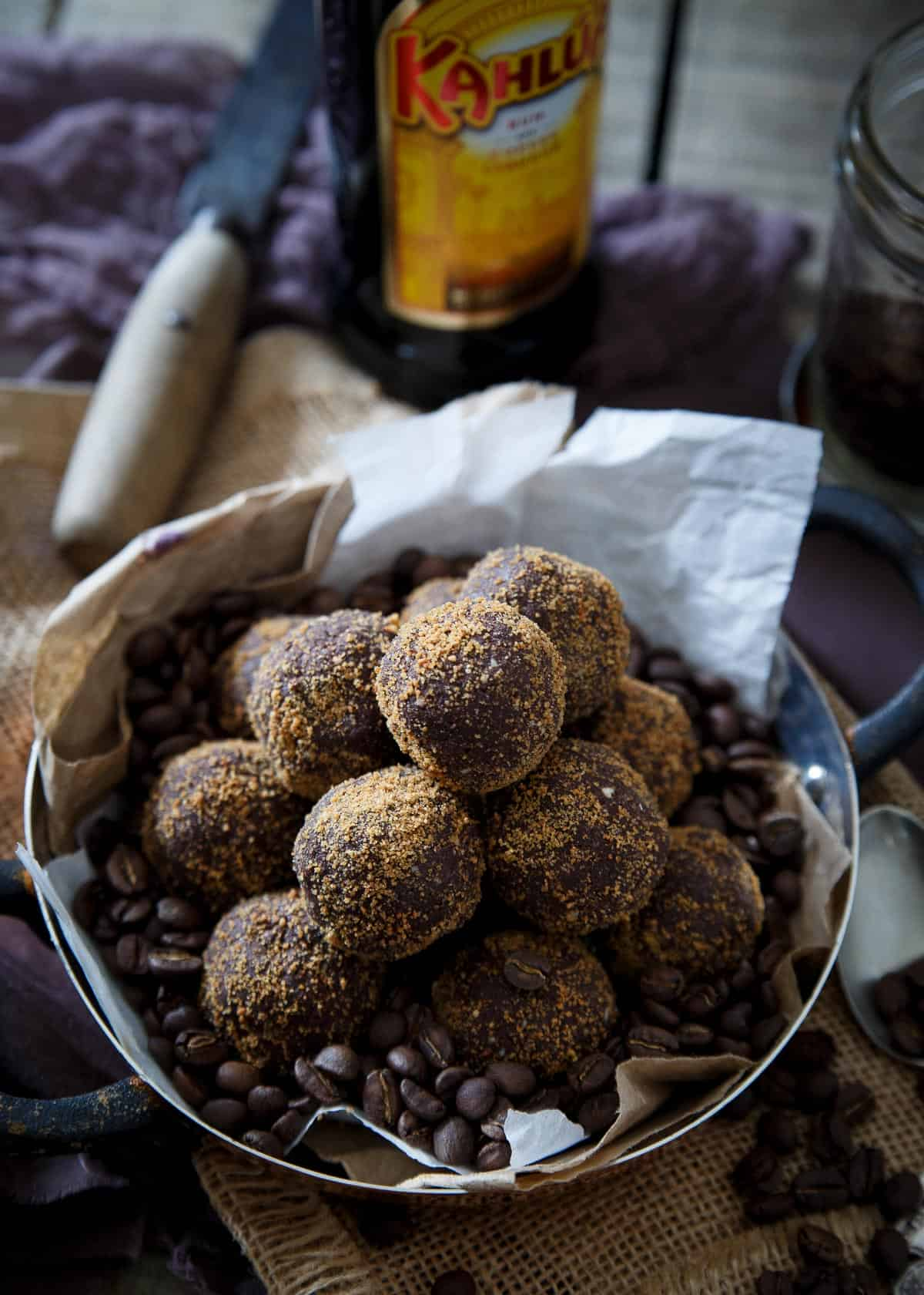 These grain free, gluten free dark chocolate Kahlua coffee bites are like biting into a decadent truffle except without the guilt.