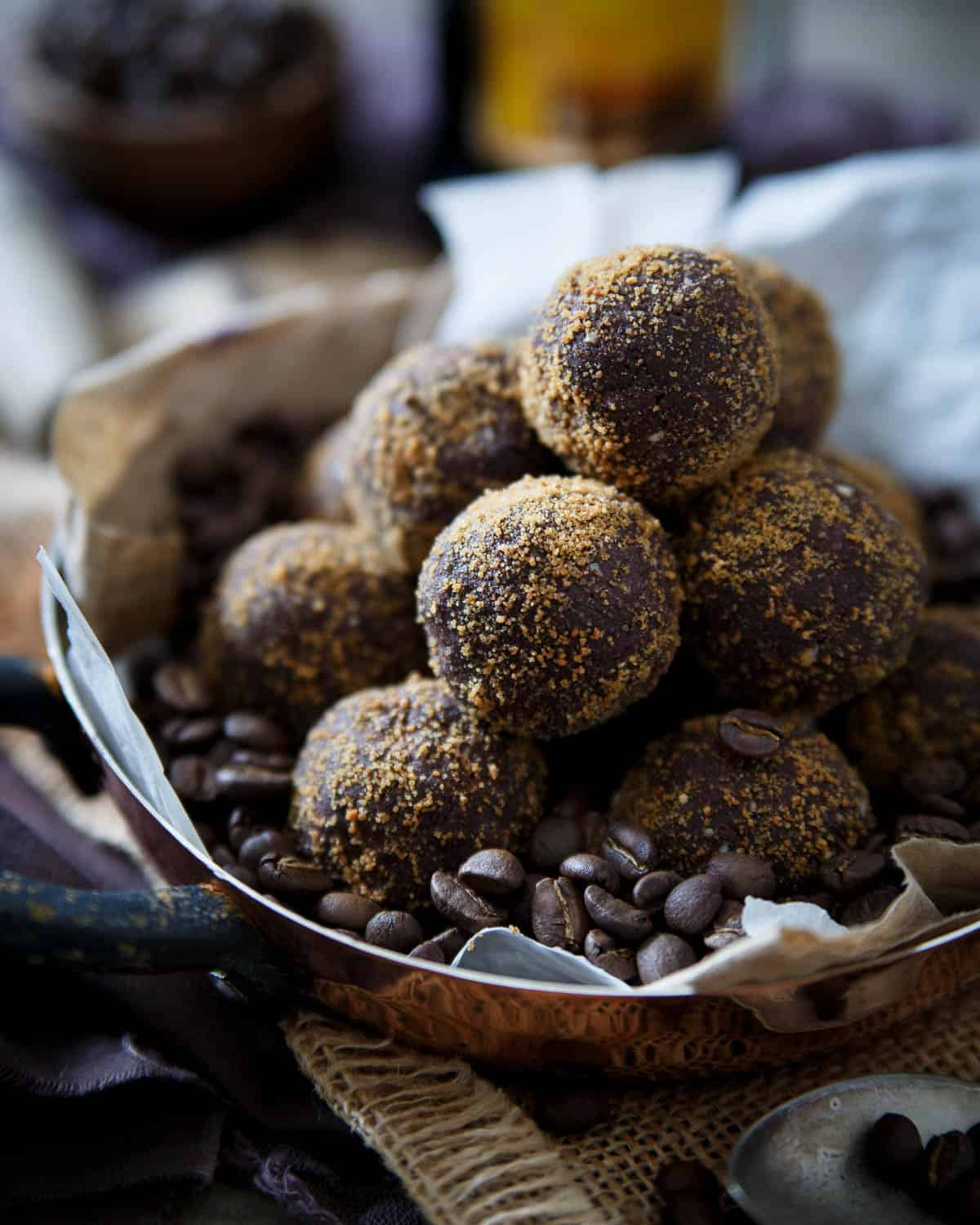 These Dark Chocolate Kahlua Coffee Bites are like a decadent truffle but filled with better for you ingredients.