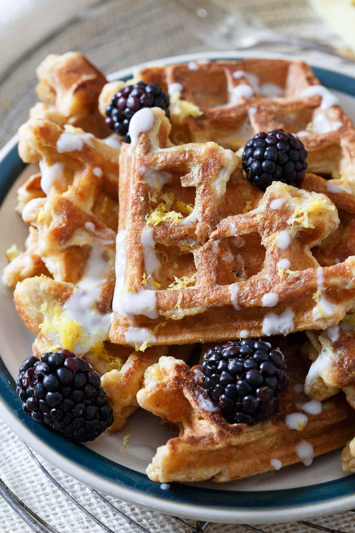 Start your day with this light and healthy Lemon Vanilla Waffle French Toast