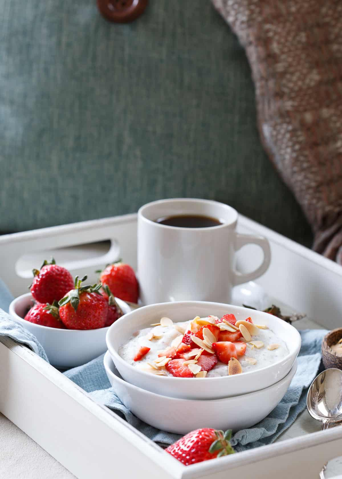 Strawberry coconut polenta breakfast bowls