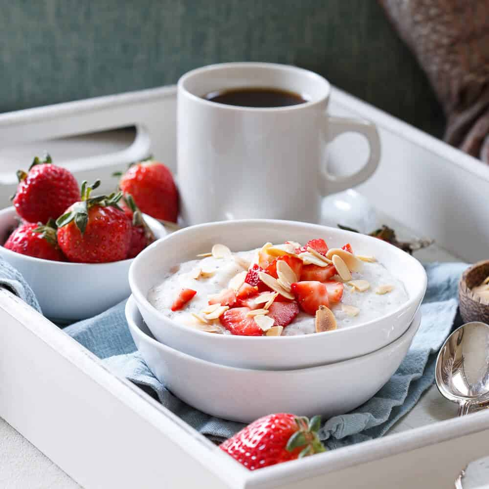 Strawberry coconut polenta breakfast bowls
