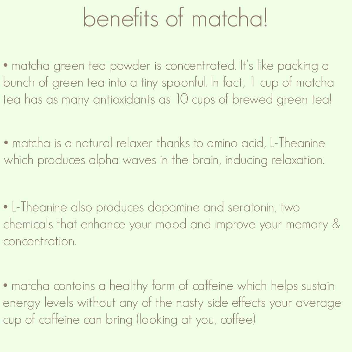 Benefits of matcha