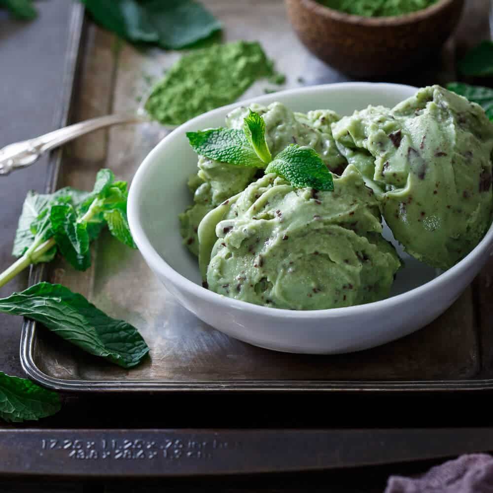 This matcha mint chocolate chunk ice cream is made with coconut milk for a creamy, dairy and gluten free dessert. A refreshing treat for the warmer weather!