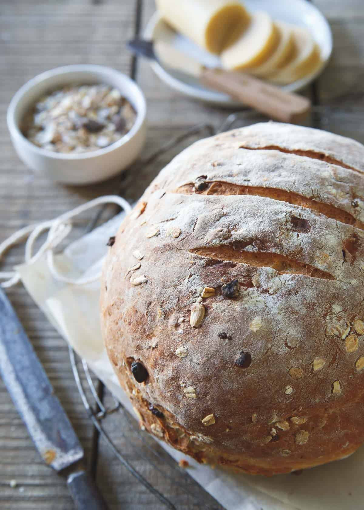 Nothing beats the smell of freshly baked bread coming out of the oven. This hearty muesli bread is begging to be slathered with some butter and enjoyed warm!