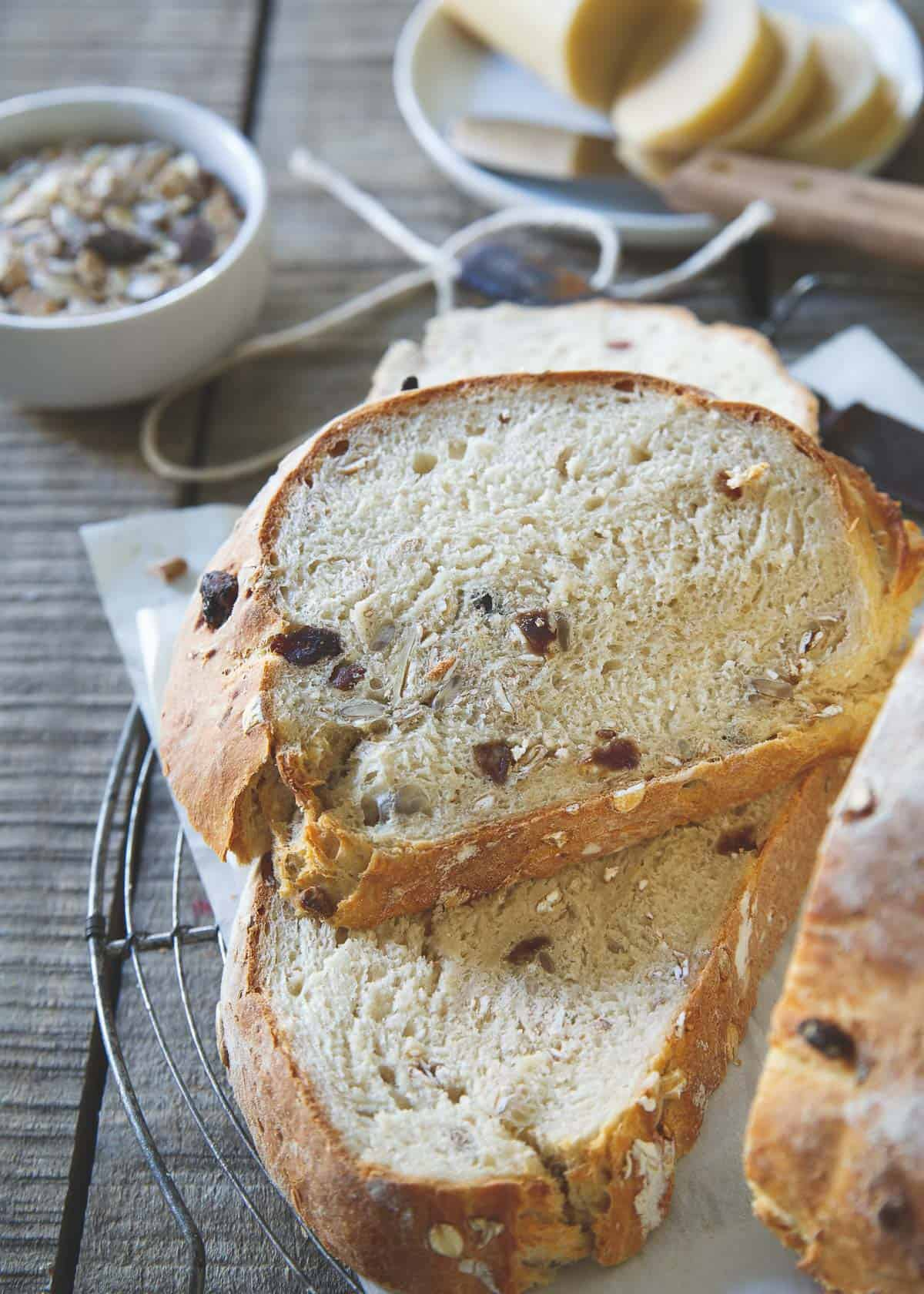 This hearty, part whole wheat muesli bread can't be beat straight out of the oven.