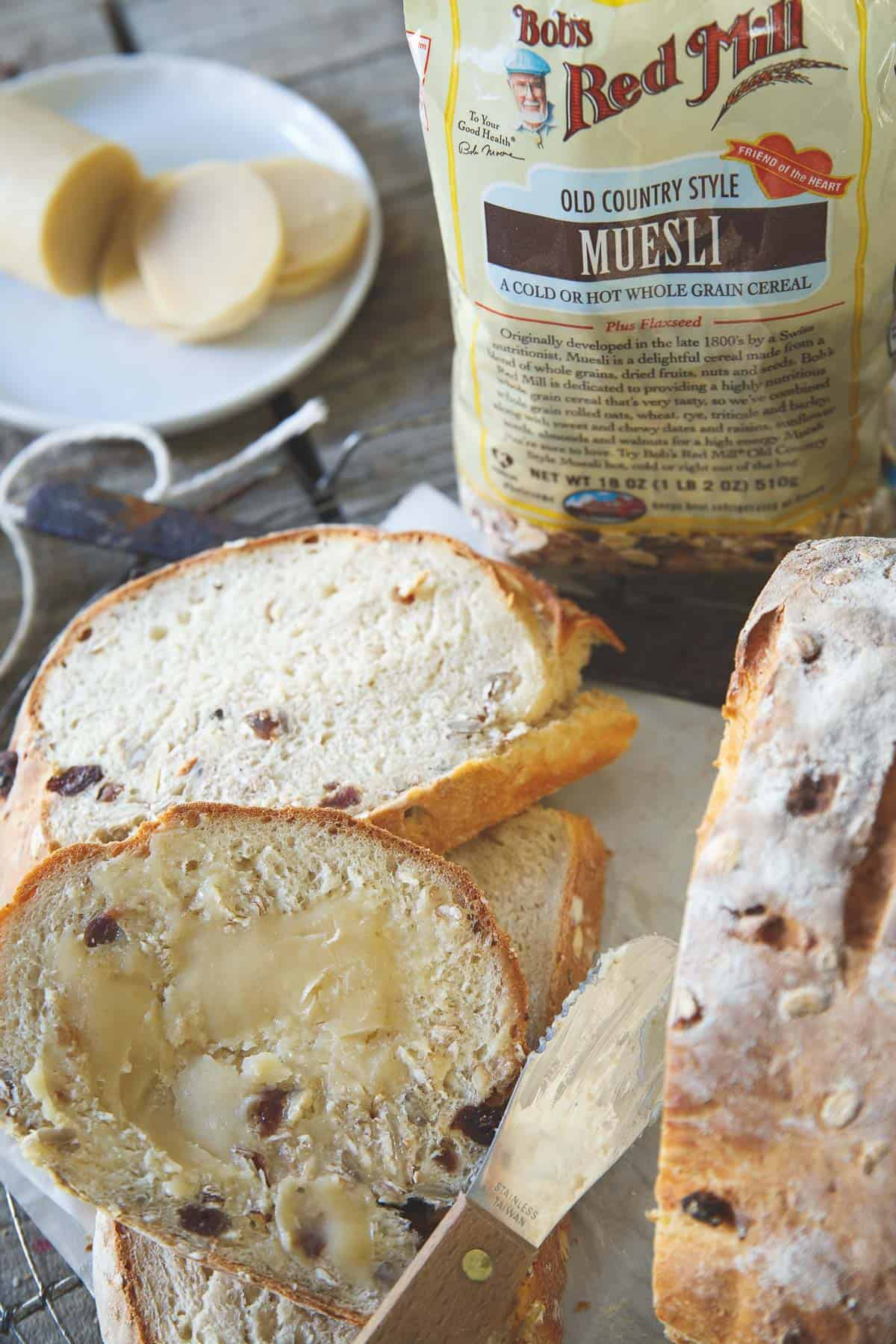 Enjoy this museli bread straight out of the oven with some butter and you're in for a treat!