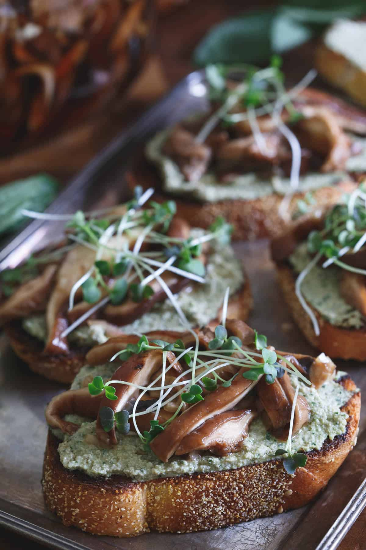 Balsamic Pickled Shiitake Crostini are a delicious savory small bite.