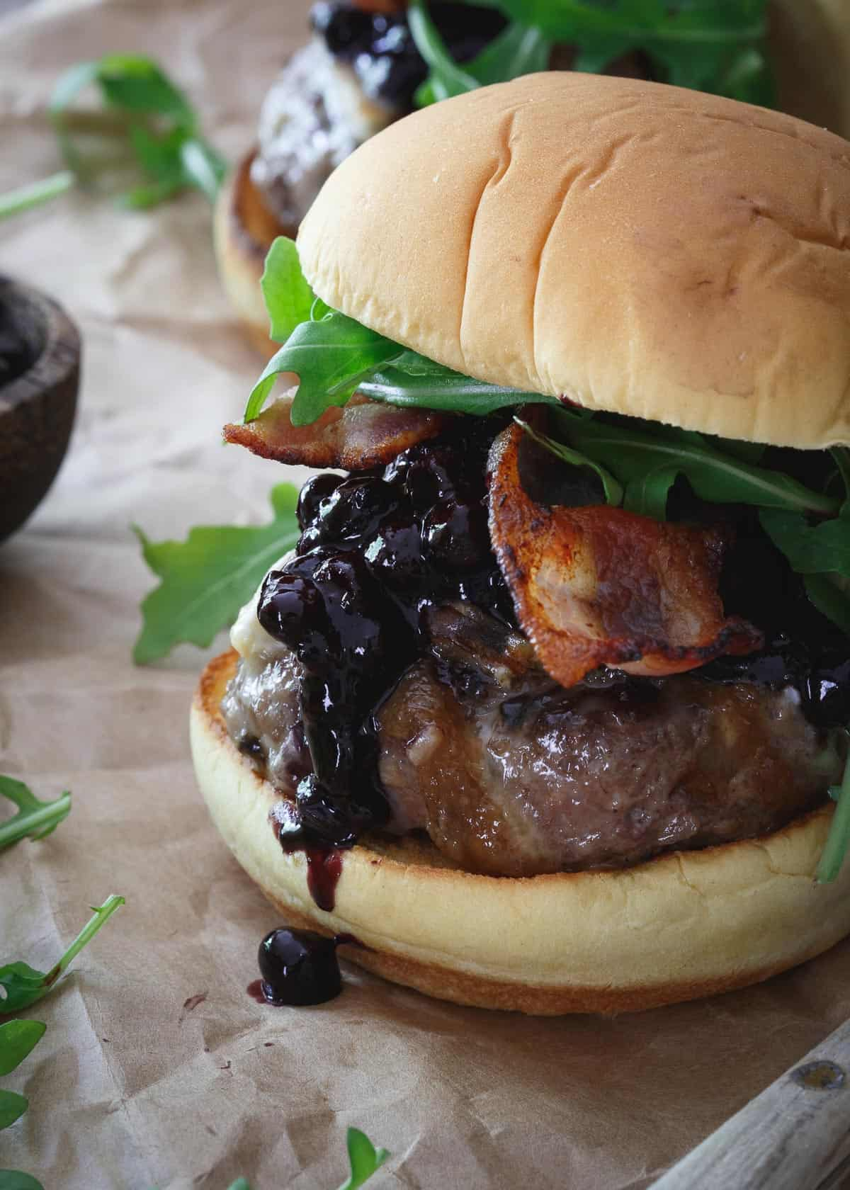 This Blueberry BBQ Brie Burger is one tasty summer bite!