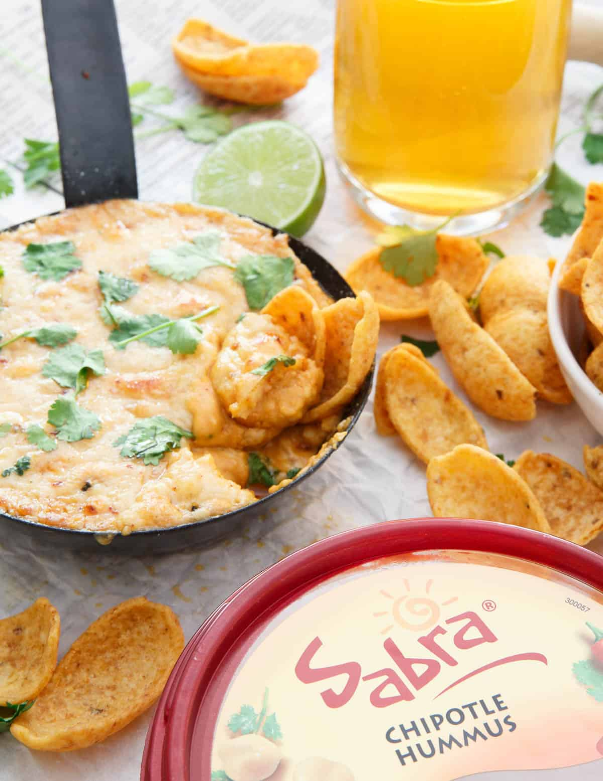 Sabra's chipotle hummus and pepper jack cheese get mixed together and baked off in this Chipotle Hummus Fundido!