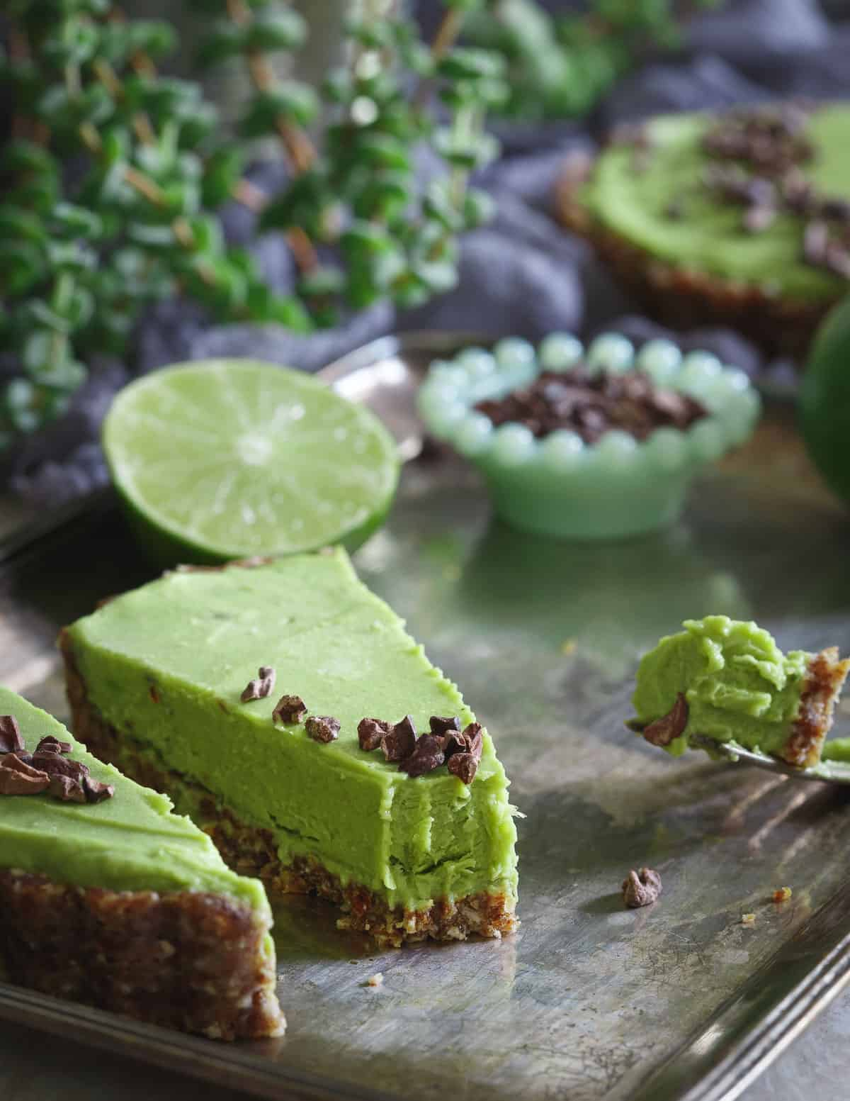 This Lime Avocado Tart is a simple and healthy no bake summer dessert