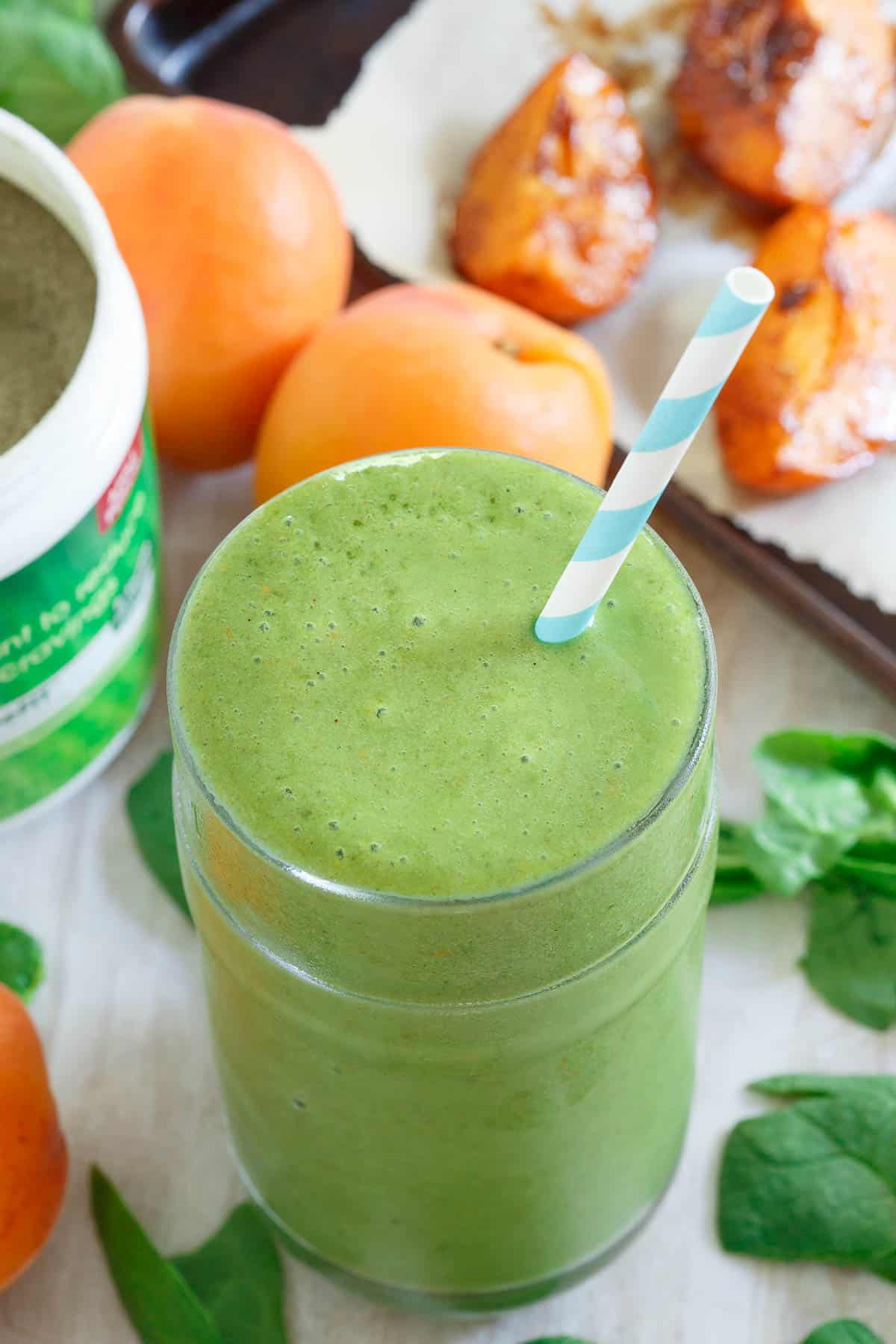 This green smoothie is deliciously sweet with the addition of roasted apricots
