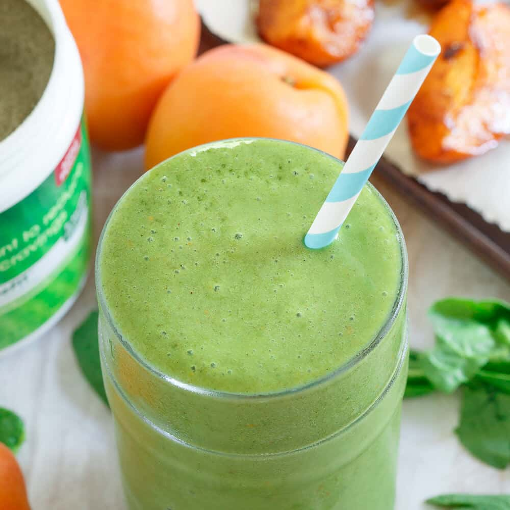 This roasted apricot smoothie gets a healthy green boost with spinach and natural spinach extract to help keep you feeling full longer!