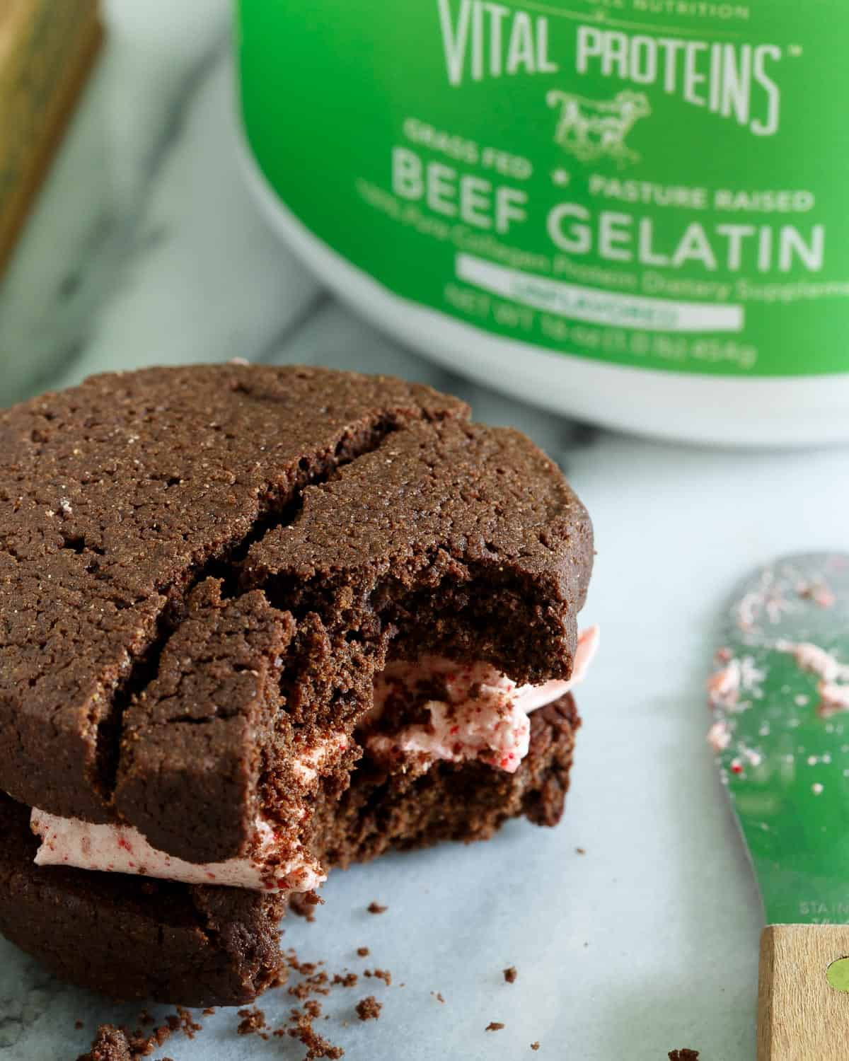 Strawberry Marshmallow Brownie Sandwich Cookies made with Vital Proteins grass fed and pasture raised gelatin are a delicious spring treat.