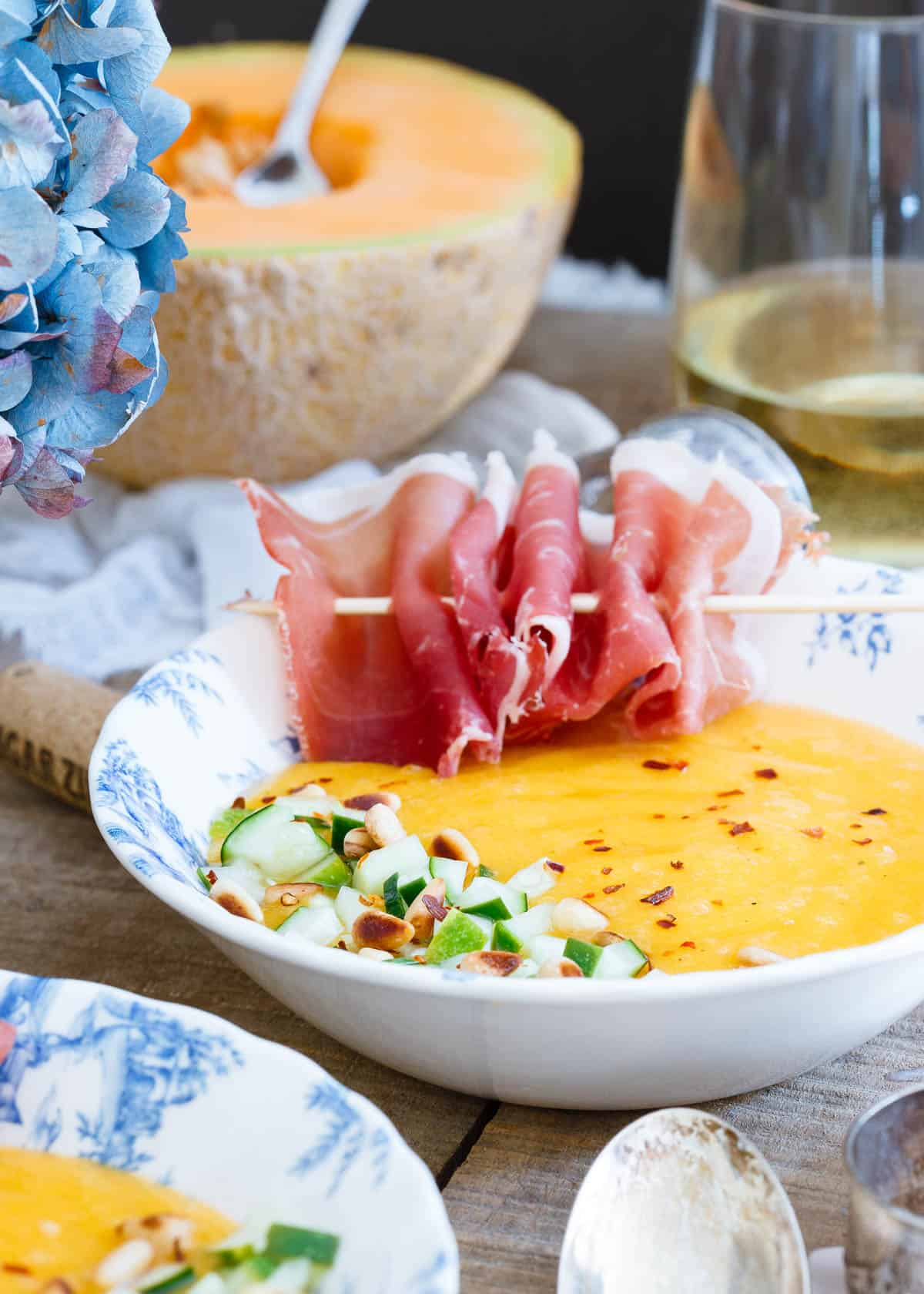 Mango Melon Soup with Pickled Cucumber is the perfect light and refreshing summer meal.