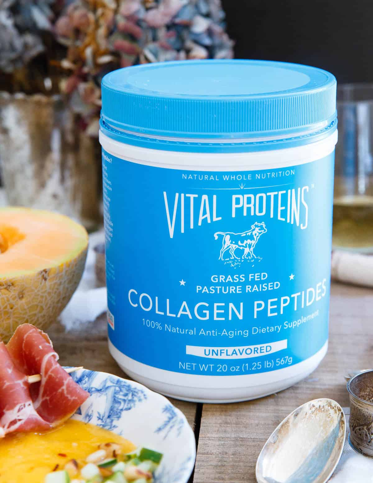 Vital Proteins collagen peptides add a nice protein boost to this Mango Melon Soup with Pickled Cucumber