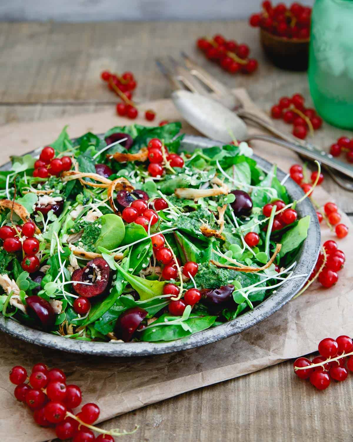 This baby kale chicken cherry salad highlights the best of summer fruit with easy shredded leftover chicken for a light and healthy meal.