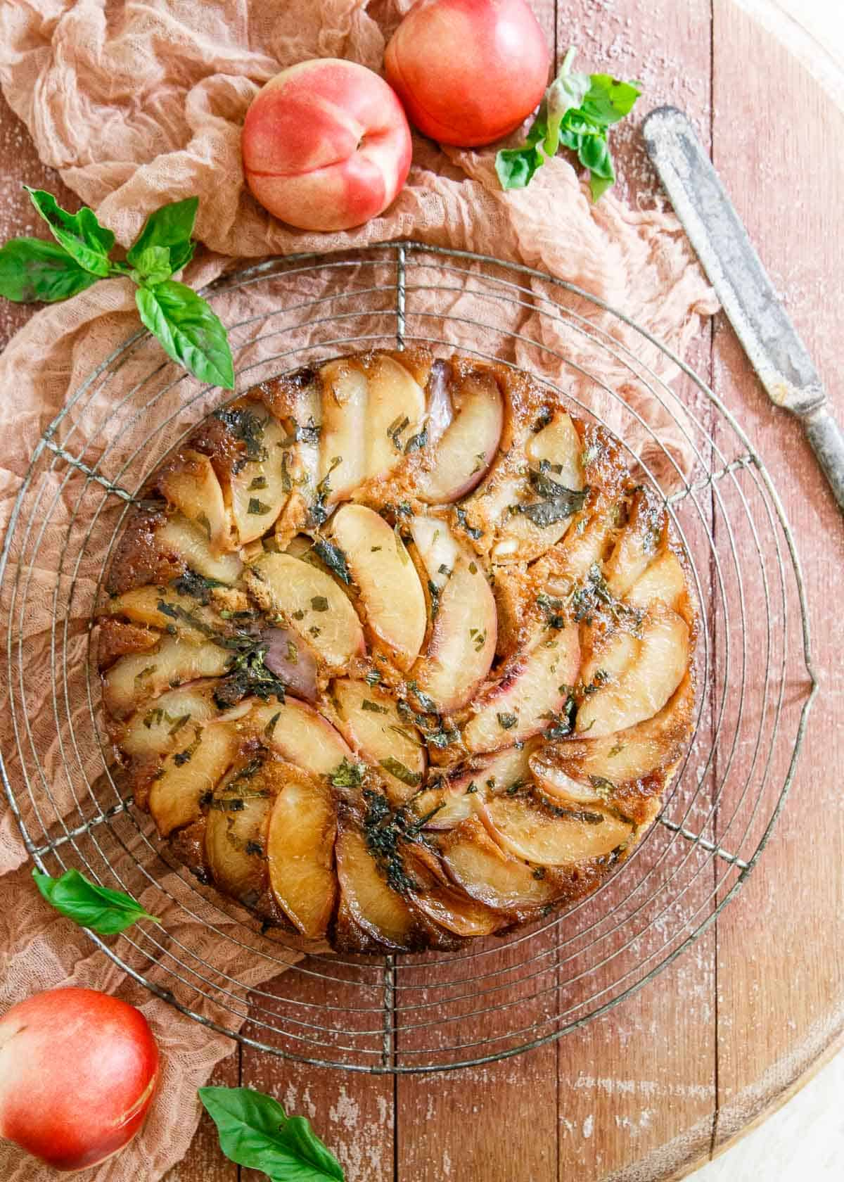 This Gluten Free Basil Nectarine Upside Down Cake has a hidden boost of collagen for a healthy protein kick.