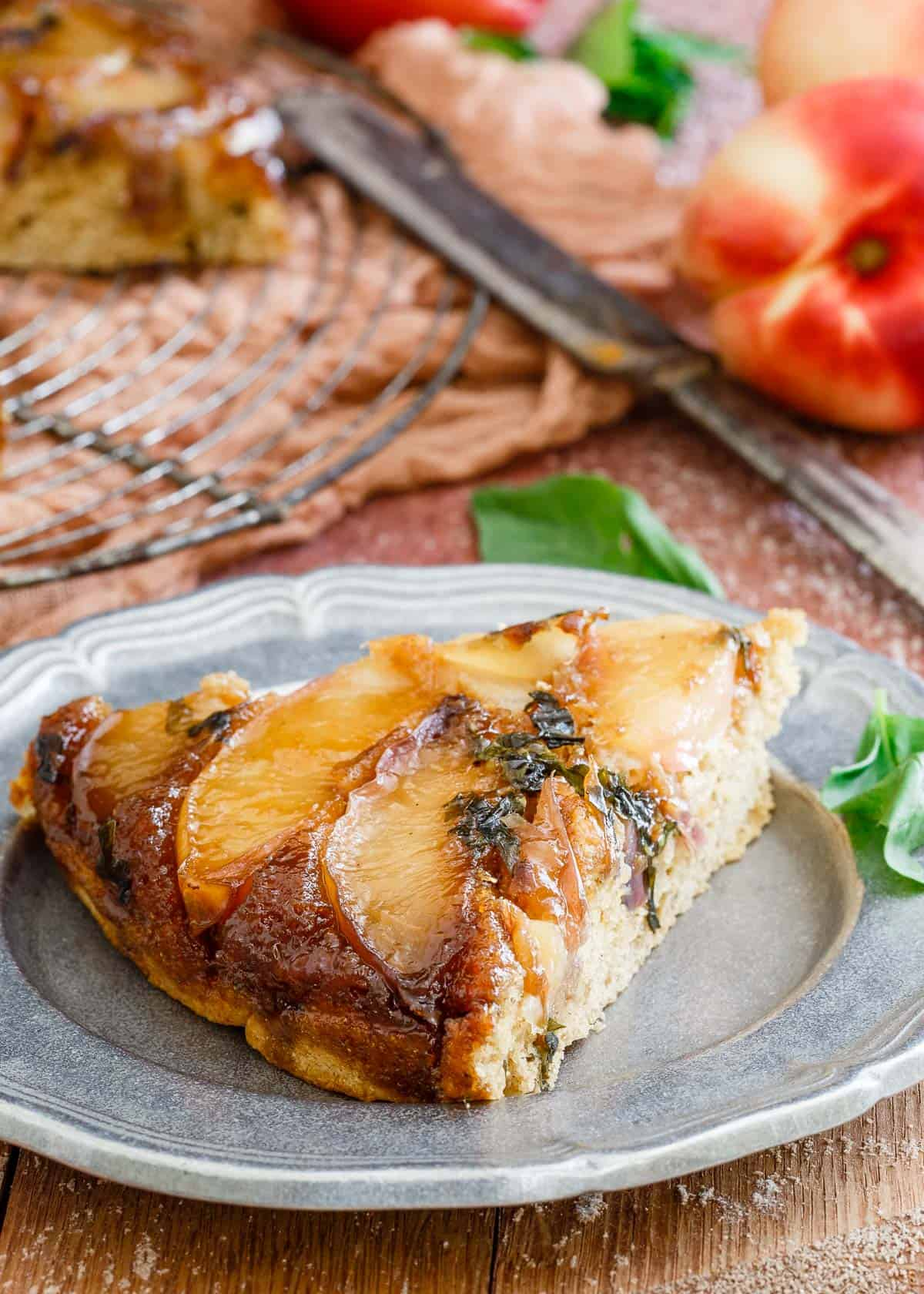 Basil Nectarine Upside Down Cake is a delicious gluten free summer treat.